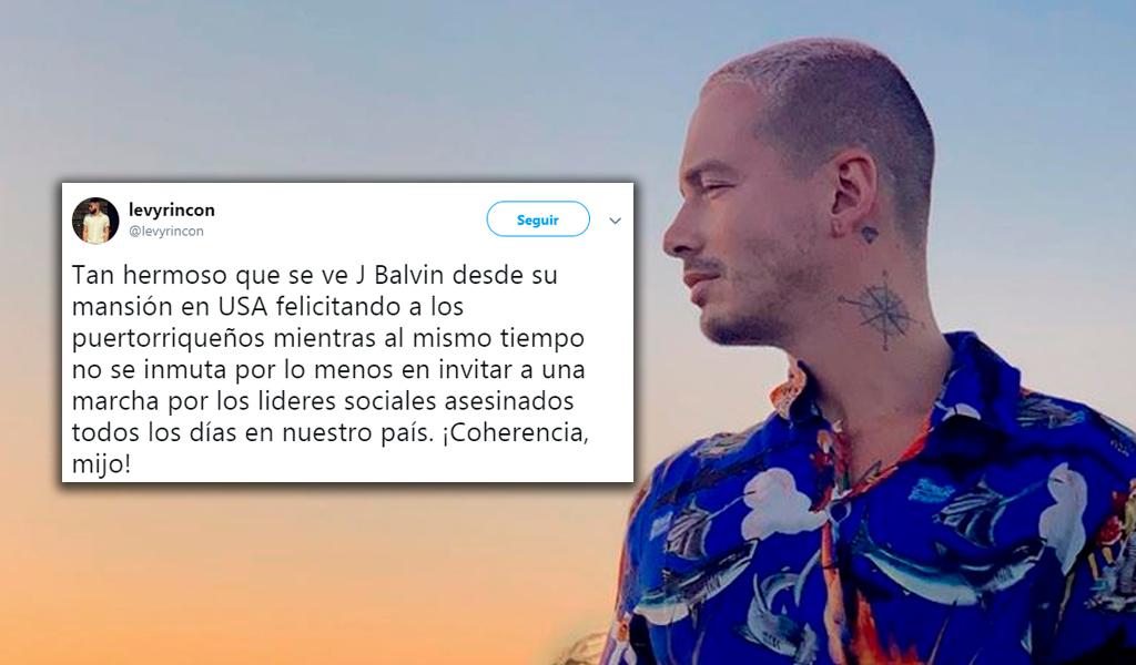 """J Balvin en el centro de las críticas por no """"apoyar al país"""""""
