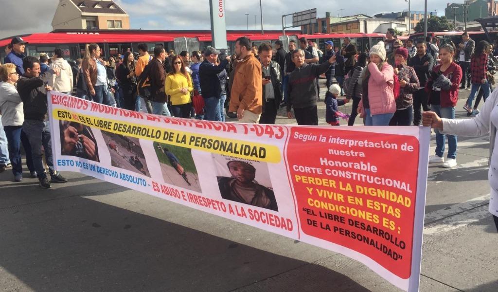 Protestas en el sur de Bogotá por falta de seguridad
