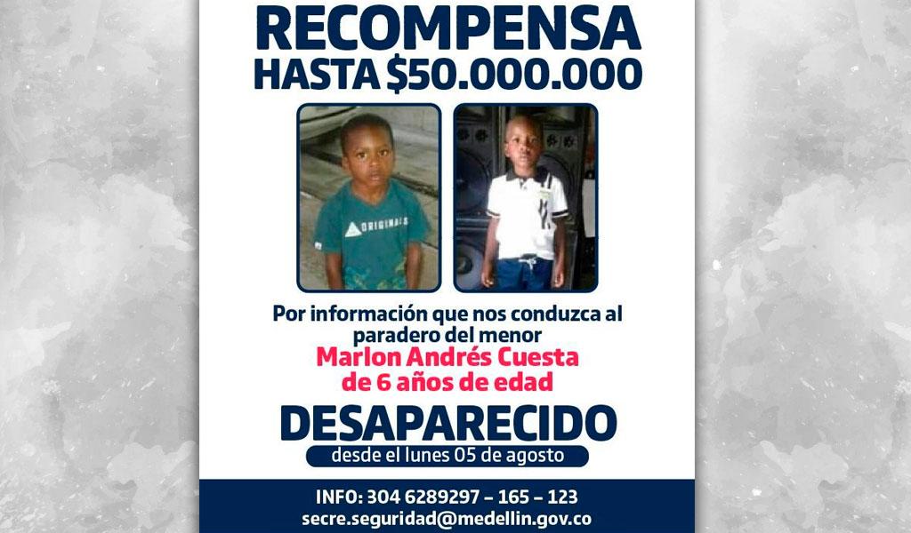 Aumentan recompensa por niño desaparecido en Medellín