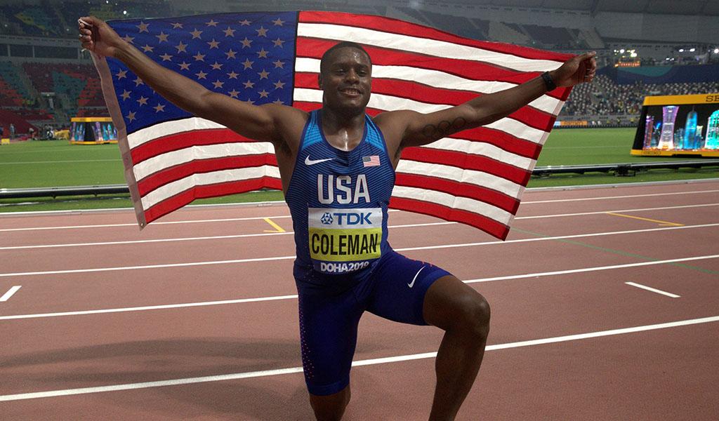 Christian Coleman dominó los 100 metros