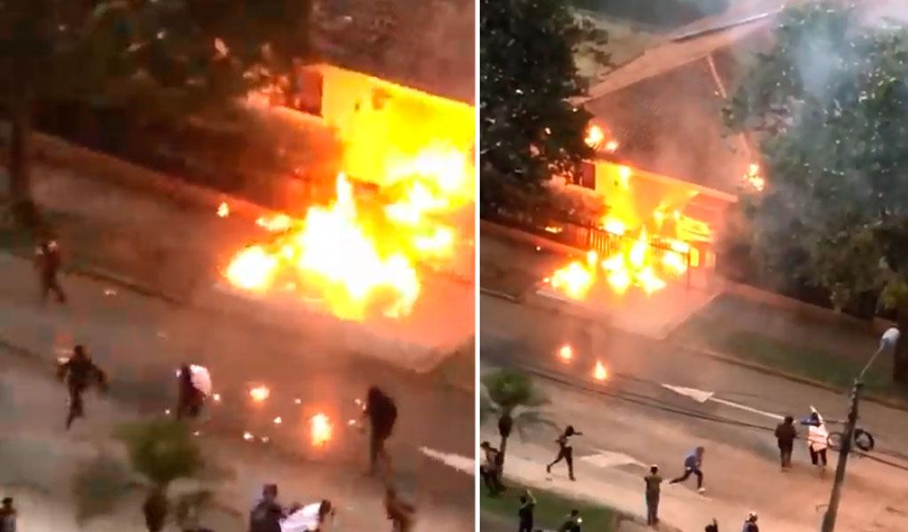 En medio de disturbios queman casa de un oficial en Pereira