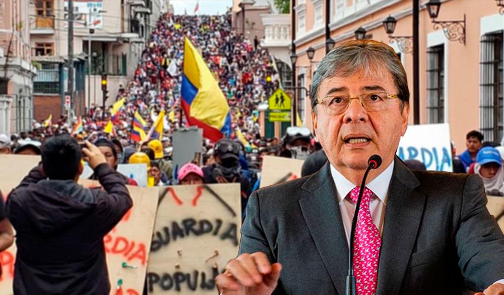 """""""No sabemos si exFarc están en protestas de Ecuador"""""""