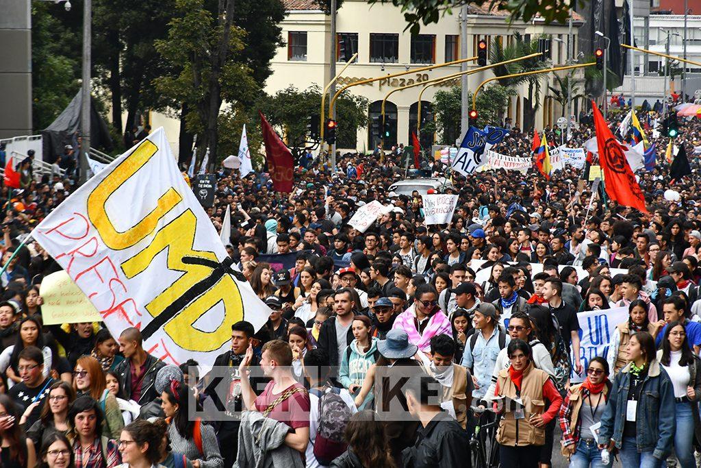 Marchas, Universidad Distrital, protestas, marchas estudiantiles, Bogotá, vías,