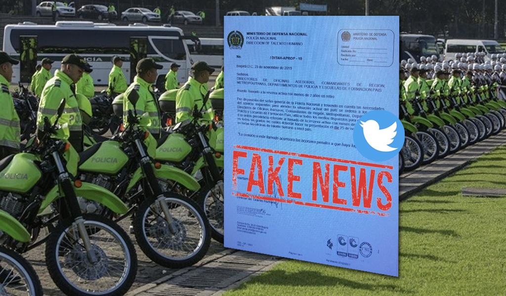 Llamado a reserva de la Policía Nacional: otra noticia falsa