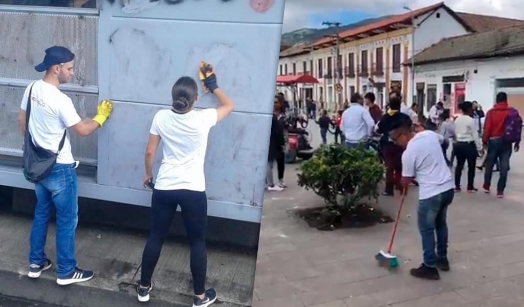 Ciudadanos limpian los daños que causaron vándalos