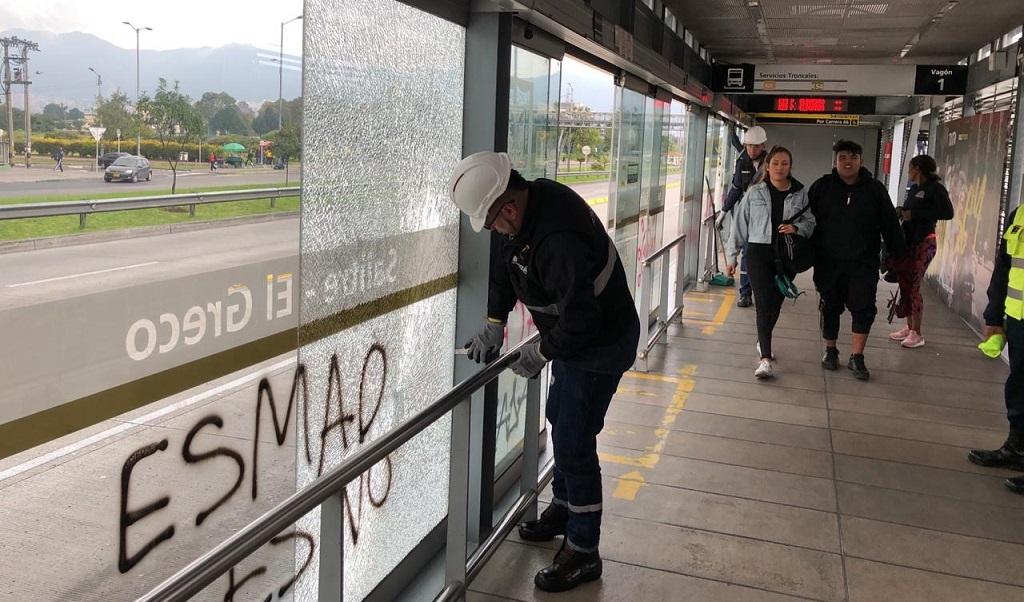 vidrios fragmentados TransMilenio