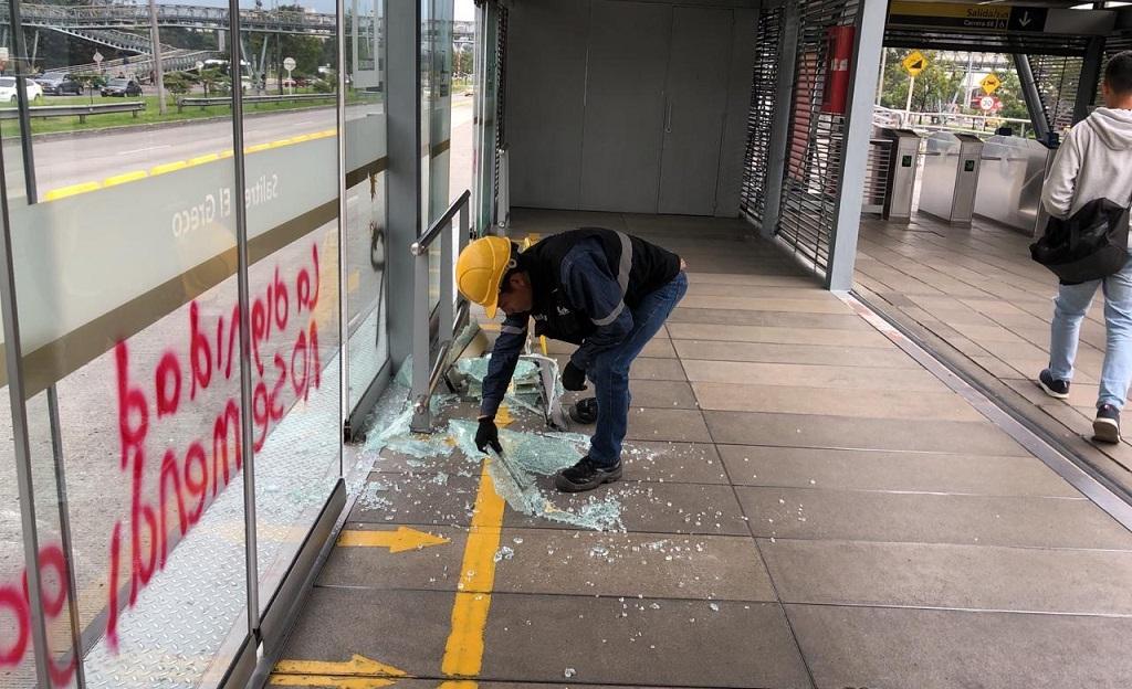 vidrios rotos TransMilenio